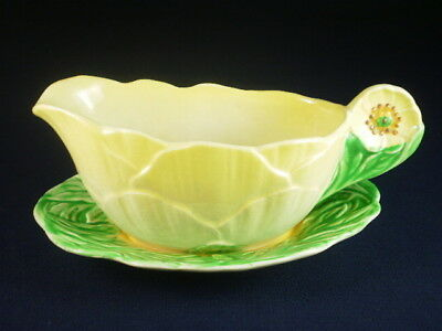 Royal Winton Green & Yellow Sauce Jug & Plate