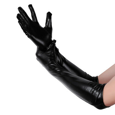 Handschuhe im Wetlook Lack Leder-Optik Gothic Wet-Look Burlesque Dance Party