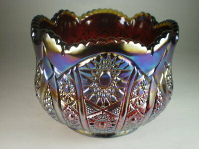 Red Carnival Glass Large Pot