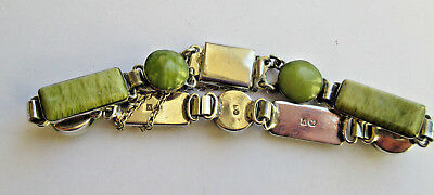 Pretty Fully Hallmarked Silver & Polished Stone Antique Bracelet Shades of Green