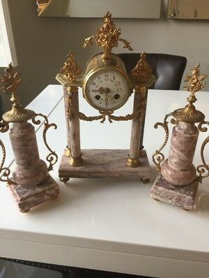 Stunning Gilt And Marble Antique Clock And Garniture Set,