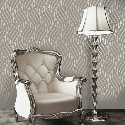 Maddox Geometric Wave Wallpaper Taupe - Holden Decor 65260 Metallic