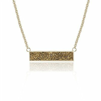 Bronze Drusy Quartz Balance Pendant Necklace with 14K Gold-Plated over Brass