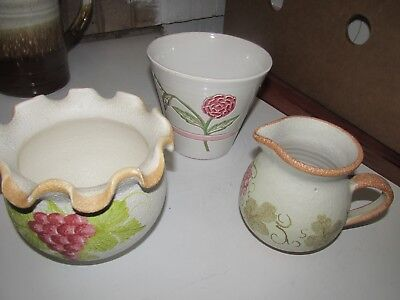 Pottery Jug And Two Planters