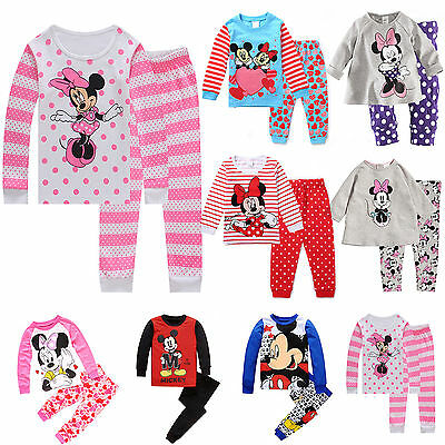 Cartoon Mickey Boy Girl Kid Toddler Outfit Tops Pants PJS Pajamas Sleepwear Sets