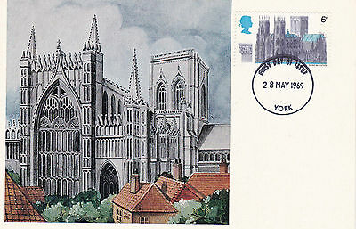 28 May 1969 York Cathedral Cameo Phq Forerunner Postcard York Fdi