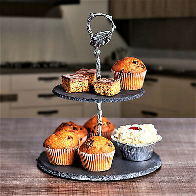 Mini 2 Tier Slate Cake Stand Afternoon Tea Wedding Plate Party Tableware Display