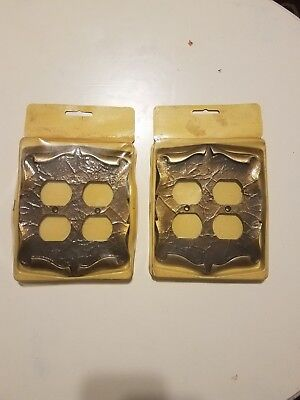2 vintage amerock carriage house double plug switch plate cover