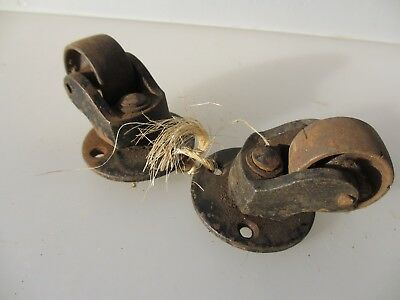 Vintage Iron Castors Trolley Wheels Old x2  Art Deco - Edwardian Old Industrial