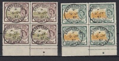 St Kitts 1954 48c and 60c used imprint blocks - SG115-116