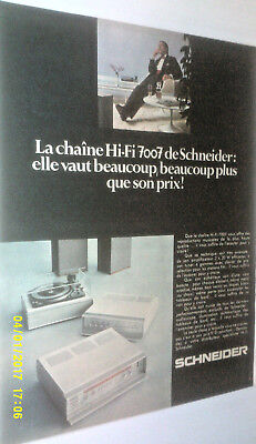 1969 Schneider Hi-Fi 7007 Stereo System Original Ad In French