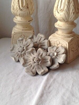 French Plaster Flower Architectural Antique 2pc Pale Grey Floral Tile Decorative