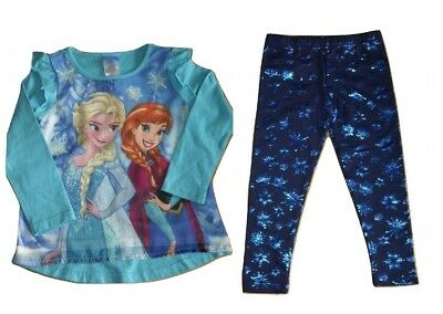 Girls Top & Leggings Set Disney Frozen Elsa & Anna Ages 2 5 & 6 Years Snowflakes