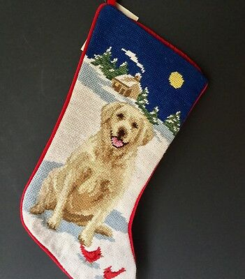 needlepoint Christmas stocking Yellow lab Labrador  full size*NOT a kit