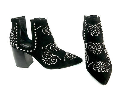 30c85ddb25d JEFFREY CAMPBELL ORNELLA Black Suede Silver Studded Cut Out Bootie ...