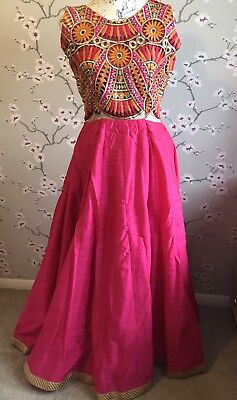 Pink Orange Tribal Pattern Floor Length Dress Gown Indian Party Contemporary