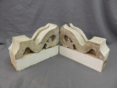 Antique Pair Corbels Wood Small Victorian Architectural Shabby Vtg Chic 509-17P