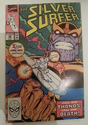 silver surfer #34 (vol.2) thanos returns nm glossy cover 1990 marvel