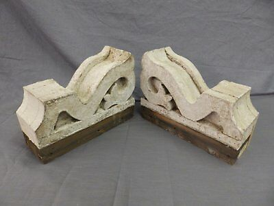 Antique Pair Corbels Wood Small Victorian Architectural Shabby Vtg Chic 512-17P