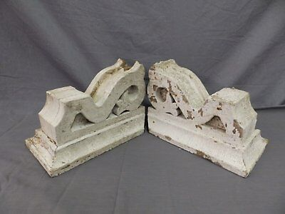 Antique Pair Corbels Wood Small Victorian Architectural Shabby Vtg Chic 513-17P