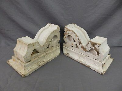 Antique Pair Corbels Wood Small Victorian Architectural Shabby Vtg Chic 514-17P