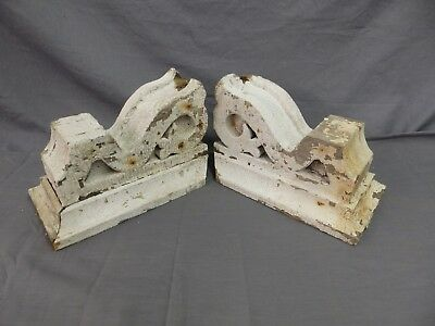Antique Pair Corbels Wood Small Victorian Architectural Shabby Vtg Chic 515-17P