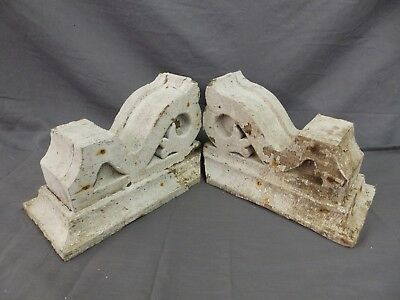 Antique Pair Corbels Wood Small Victorian Architectural Shabby Vtg Chic 516-17P