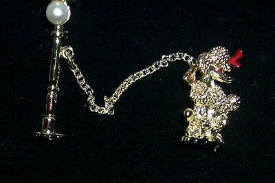 Vtg Goldtone Poodle Pin Chained To Lamp Post W/pearl - Mid-Century