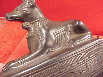 Original Signed Carved Anubis Egyptian Dog King on Tuts Tomb Hieroglyphics
