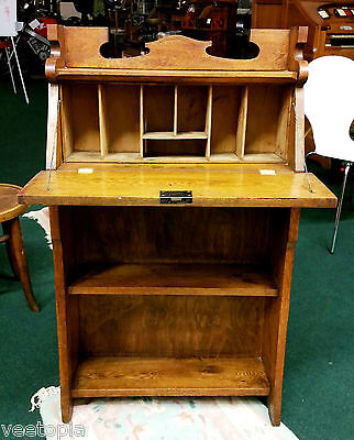 nice arts and crafts - students wall bureau - writing desk - light oak - ex cond