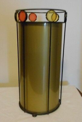 Vintage MCM UMBRELLA STAND 2pc Black Metal w/ Colored Rounds & Gold Metal Insert