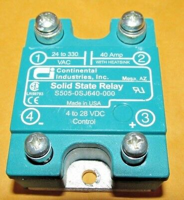 Continental Industrial Solid State Relay S505-0Sj640-000 - 4 To 28 Vdc 40A  Amp
