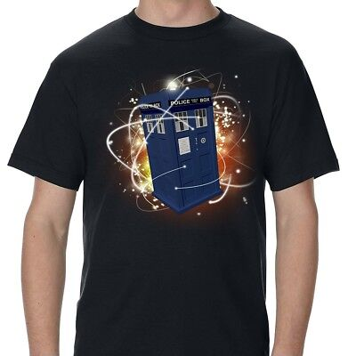 Police Box Time Machine Black Adult T-Shirt