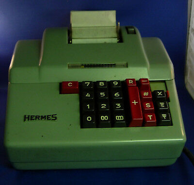 Vintage Hermes Swiss made Electric Adding Machine Model 365-12 Works      O305FS