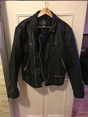 Jarvis Bond Black Leather Retro Motorbike Jacket Size 44