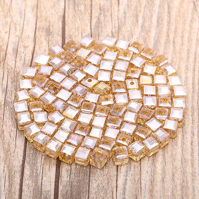 30pcs 6mm  AB Square Cube Cut Glass Crystal Spacer Beads Crafts