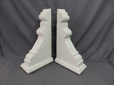 Large Pair Antique Corbels Roof Brackets Victorian Shabby Shelf Vtg Chic 522-17P
