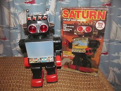 """Saturn Robot 13"""" walking robot - television screen, working, complete with box"""