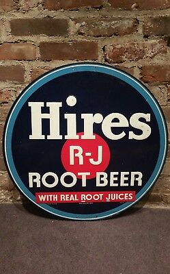 "Hires R-J Root Beer Sign 24"" Embossed"