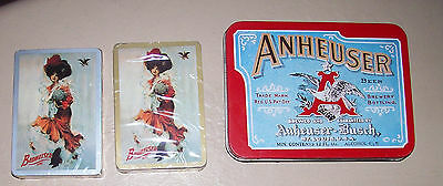 Anheuser Busch Tin with 2 sealed decks playing cards 1991