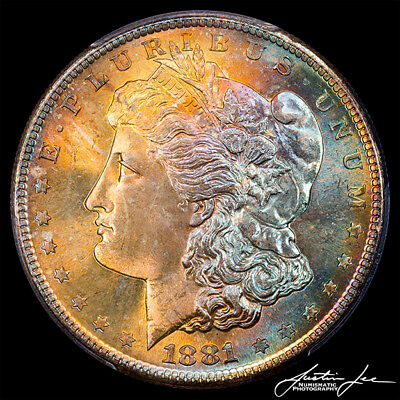 1881 S Morgan Silver Dollar PCGS MS67 CAC Gorgeous Color Toning and Luster !!