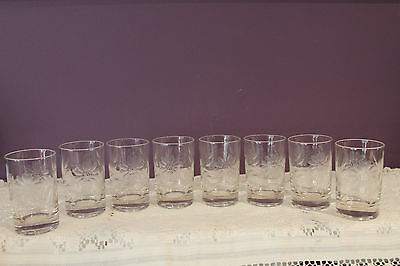 8 W.j. Hughes Etched Cornflower Crystal Tumbler Juice Glasses
