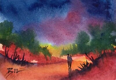 ACEO Original Art Watercolour Painting by Bill Lupton - Colourful Love