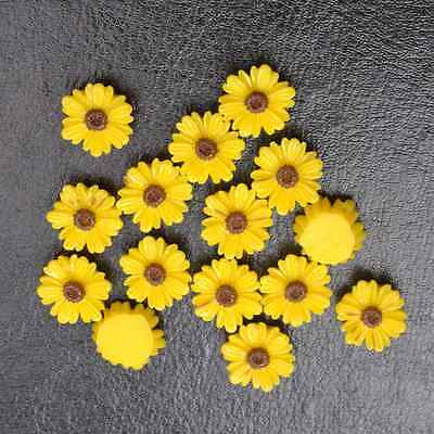 20pcs Yellow Gorgeous Sunflower Coral Resin Spacer Beads 12MM