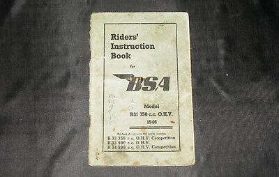 Riders' Instruction Book, BSA B31 350cc OHV 1946 plus some 1947 models