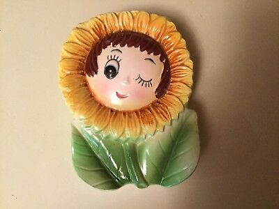 VIntage PY Anthropomorphic Sunflower Wall Pockets Sweet Face