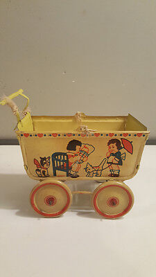 Antique Tin Metal Doll Baby Buggy Stroller Carriage GoSO Toy Yellow Litho Cat
