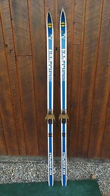 """GREAT OLD Wooden 69"""" Skis Signed HARJU with BLUE WHITE Finish"""