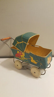 """Antique Doll Baby Buggy Stroller Carriage Marx Toy Lithograph Cats 7"""" BIG! Tin"""