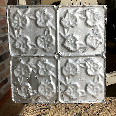 "12"" Antique Tin Ceiling Tile -- Silver Paint --- Small Leaf Design"